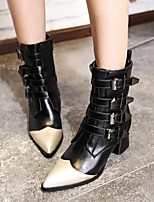 cheap -Women's Boots Wedge Heel Pointed Toe Vintage Daily Color Block PU Booties / Ankle Boots Black / Gray