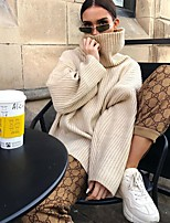 cheap -Women's Basic Knitted Solid Color Plain Pullover Long Sleeve Loose Sweater Cardigans Turtleneck Fall Winter Khaki