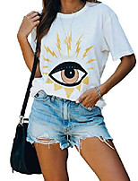 cheap -juniors tops summer shirts for women casual evil eye cotton tee short sleeve blouses white large