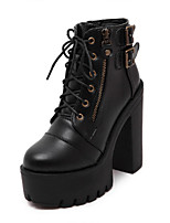 cheap -Women's Boots Wedge Heel Round Toe Sexy Daily Solid Colored PU Booties / Ankle Boots Black