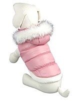cheap -teddy dog clothes winter cotton-padded jacket with hood princess model (pink, m)