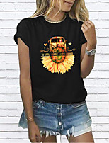 cheap -Women's T-shirt Graphic Prints Round Neck Tops Basic Basic Top White Black Red