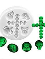 cheap -Halloween Party Halloween Skeleton Skull and Cross Shape Silicone Fondant Mold Halloween Series Cake Decoration Mold