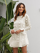 cheap -Women's Shift Dress Short Mini Dress - Long Sleeve Solid Color Lace Backless Ruffle Fall Casual Slim 2020 White Black S M L XL