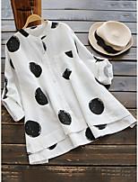 cheap -Women's Blouse Shirt Polka Dot Print Standing Collar Tops Cotton Basic Basic Top White Yellow Brown