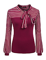 cheap -ladies tie-bow neck striped long sleeve splicing autumn shirt,wine red,  small