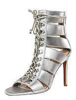 cheap -Women's Sandals Stiletto Heel Open Toe Sexy Party & Evening Solid Colored PU Black / Gold / Silver