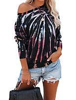 cheap -Women's Pullover Sweatshirt Tie Dye Basic Hoodies Sweatshirts  White Black Rainbow
