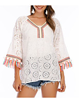 cheap -Women's Going out Blouse Shirt Solid Colored Cut Out Tassel V Neck Tops Loose 100% Cotton Tassel Hawaiian Basic Top White