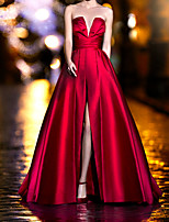 cheap -A-Line Vintage Sexy Wedding Guest Formal Evening Dress Strapless Sleeveless Sweep / Brush Train Satin with Pleats Split 2020