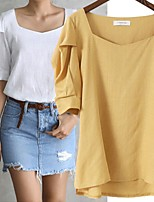 cheap -Women's Blouse Shirt Solid Colored Asymmetric Square Neck Tops Lantern Sleeve Loose Basic Basic Top White Yellow Green