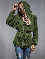 cheap -Women's Fall & Winter Coat Regular Solid Colored Daily Basic Patchwork Army Green S M L / Going out