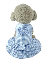 cheap -puppy dress,cute sweet pet outfit dog apparel clothes short skirt dress blue pink plaid