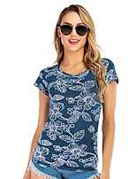 cheap -Women's Blouse Shirt Graphic Prints Print Round Neck Tops Slim Basic Basic Top Blue