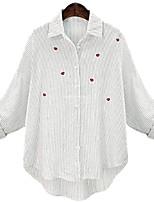 cheap -Women's Blouse Shirt Striped Long Sleeve Embroidered Shirt Collar Tops Basic Basic Top White