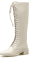 cheap -Women's Boots Wedge Heel Round Toe Casual Daily Lace-up Solid Colored PU Mid-Calf Boots Almond / Black