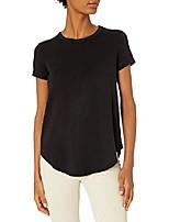 cheap -amazon brand - women's supersoft terry short-sleeve shirt with shirttail hem, black-white skinny stripe,large