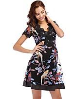 cheap -Women's A-Line Dress Short Mini Dress - Short Sleeve Floral Print Lace Zipper Summer V Neck Elegant Daily Going out 2020 Black S M L XL XXL