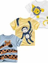 cheap -toddler little boys clothes 3-pack dinosaur short sleeve crewneck t-shirts top tee size for 2-7 years & #40;lion, monkey, giraffe, 5t& #41;