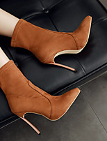 cheap -Women's Boots Stiletto Heel Pointed Toe Sexy Daily Solid Colored PU Booties / Ankle Boots Almond / Light Brown / Black