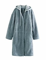 cheap -Women's Winter Coat Maxi Solid Colored Daily Blue Khaki One-Size