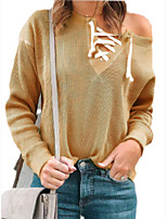 cheap -Women's Basic Knitted Solid Color Plain Pullover Long Sleeve Sweater Cardigans V Neck Fall Winter Yellow Fuchsia