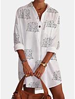 cheap -Women's Blouse Shirt Letter Long Sleeve Shirt Collar Tops Loose Cotton Basic Basic Top White