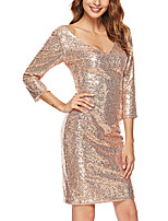 cheap -Women's A-Line Dress Short Mini Dress - 3/4 Length Sleeve Solid Color Backless Sequins Summer V Neck Sexy Party Club 2020 Gold S M L XL XXL
