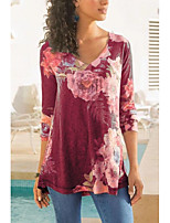 cheap -Women's Blouse Shirt Abstract Long Sleeve Print V Neck Tops Basic Basic Top Blue Red Gray