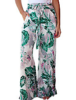 cheap -women's casual floral print belted summer beach high waist wide leg pants with pockets white x large