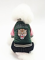 cheap -Dog Coat Character Tiger Casual / Daily Cute Casual / Daily Winter Dog Clothes Warm Blue Pink Green Costume Cotton S M L XL XXL