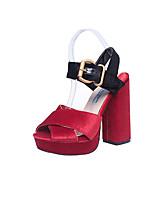 cheap -Women's Sandals Block Heel Peep Toe Casual Daily PU Black / Red / Black / Red