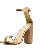 cheap -Women's Sandals Wedge Heel Peep Toe Classic Daily Rhinestone Solid Colored PU Gold