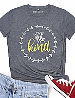 cheap -be kind t shirt women& #39;s bee graphic short sleeve shirt loose inspirational letter tee top & #40;grey-1, xl& #41;