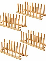 cheap -hblife 4pcs bamboo dish plate bowl cup book pot lid cutting board drying rack stand drainer storage holder organizer kitchen cabinet & #40;set of 4& #41;
