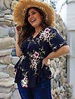 cheap -Women's Blouse Floral V Neck Tops Chiffon Basic Basic Top White Navy Blue Beige