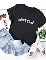 cheap -Women's T-shirt Letter Print Round Neck Tops 100% Cotton Basic Basic Top Black