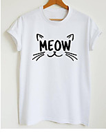 cheap -Women's T-shirt Graphic Prints Letter Print Round Neck Tops Slim 100% Cotton Basic Basic Top White