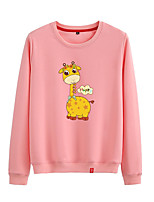 cheap -Women's Sweatshirt Sweatshirt Womens Pullover Sweatshirts Black White Pink Cartoon Animal Patterned Cartoon Cute Sport Athleisure Pullover Long Sleeve Warm Soft Comfortable Everyday Use Causal