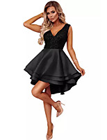 cheap -Women's A-Line Dress Knee Length Dress - Sleeveless Solid Color Patchwork Summer V Neck Casual Slim 2020 Black Red Blushing Pink S M L