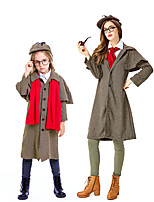 cheap -Sherlock Holmes Coat Cosplay Costume Outfits Group Costume Kid's Adults' Women's Cosplay Halloween Halloween Festival / Holiday Cotton / Linen Blend Brown Women's Easy Carnival Costumes / Glasses