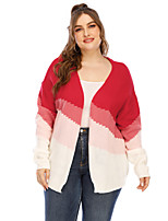 cheap -Women's Stripe Striped Color Block Cardigan Short Sleeves Long Sleeve Plus Size Oversized Sweater Cardigans V Neck Fall Winter Red