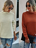 cheap -Women's Basic Knitted Solid Color Plain Pullover Acrylic Fibers Long Sleeve Loose Sweater Cardigans Round Neck Turtleneck Fall Winter White Red