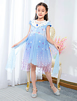 cheap -Elsa Dress Cosplay Costume Girls' Movie Cosplay Princess Halloween Blue Dress Halloween Carnival Masquerade Polyester / Cotton