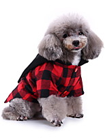 cheap -Dog Halloween Costumes Costume Shirt / T-Shirt Plaid / Check Pumpkin Cosplay Cool Christmas Party Dog Clothes Breathable Red+Black Costume Polyester S M L XL