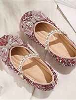 cheap -Girls' Flats Flower Girl Shoes PU Glitter Crystal Sequined Jeweled Little Kids(4-7ys) / Big Kids(7years +) Walking Shoes Rhinestone / Bowknot / Pearl Almond / Pink Spring / Fall / Party & Evening