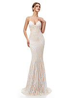 cheap -Mermaid / Trumpet Beautiful Back Sparkle Engagement Formal Evening Dress Halter Neck Sleeveless Sweep / Brush Train Sequined with Sequin 2020
