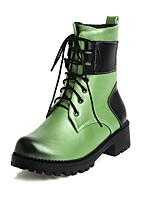 cheap -Women's Boots Block Heel Round Toe British Daily Lace-up Color Block PU Booties / Ankle Boots Black / Purple / Green