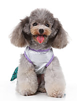 cheap -Dog Halloween Costumes Costume Dress Bowknot Mermaid Casual / Sporty Cute Christmas Party Dog Clothes Breathable Green Costume Polyester S M L XL