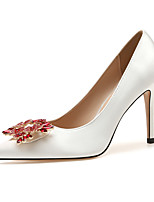 cheap -Women's Wedding Shoes Stiletto Heel Pointed Toe Classic Sexy Sweet Wedding Party & Evening Rhinestone Sparkling Glitter Solid Colored Satin White / Red